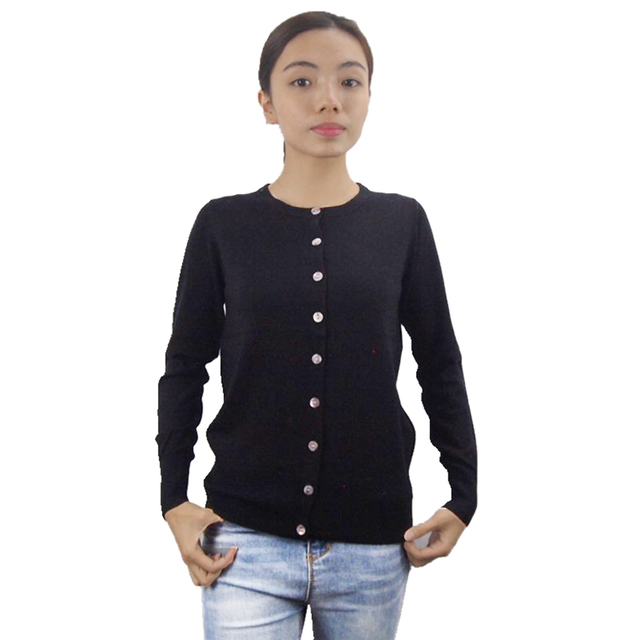 2018 New Black Wool Thin Women Basic Spring Autumn Button Down Sweater Cardigan