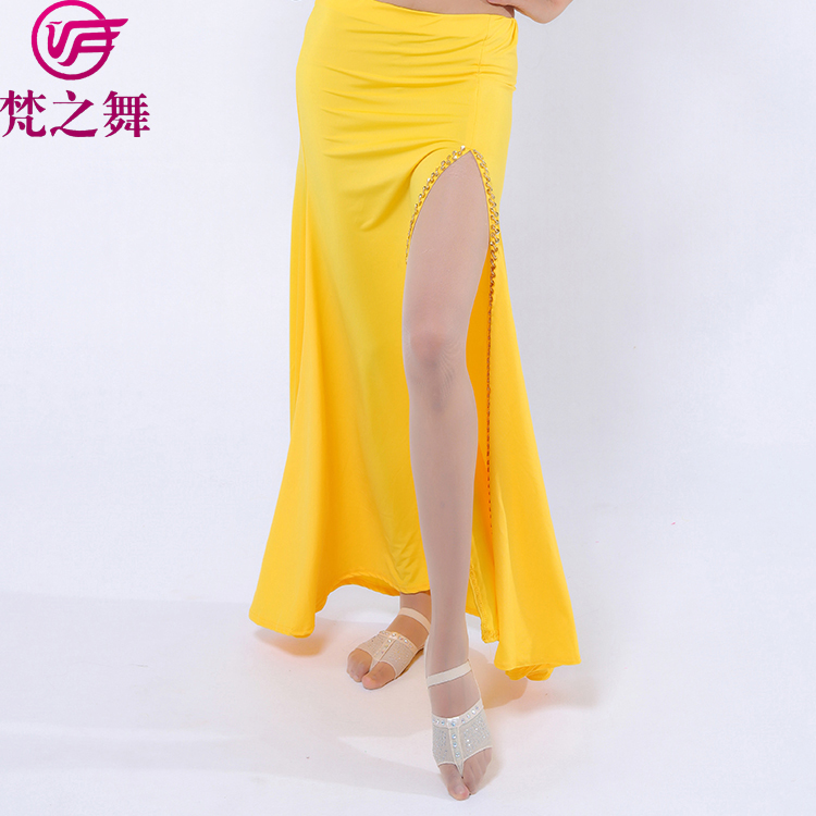Q-6053 Export slit milk silk belly dance costume ladies skirt for sale