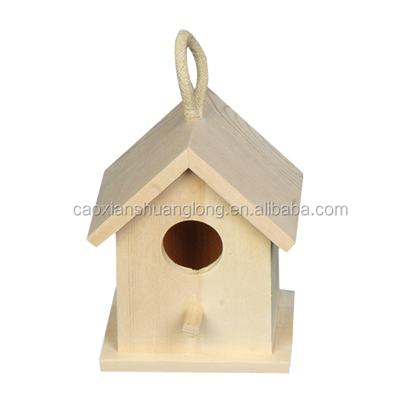 Small decorative functional hand crafted eco-friendly wooden birdhouse