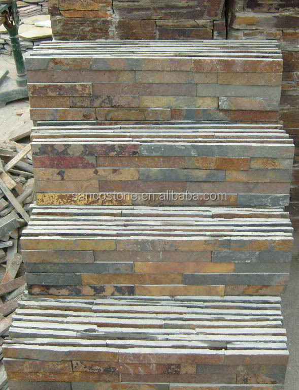 Hot selling slate culture stone Natural rusty wall cladding slate landscaping stones for wall cladding.
