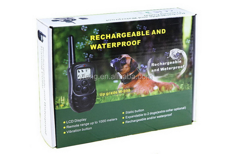 Rechargeable Waterproof LCD Electronic Shock 1000M Remote Dog Training Collar For 1 Dog