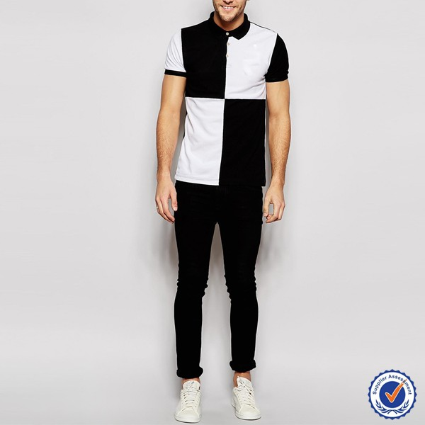custom the white and black two colors combination polo shirt for men