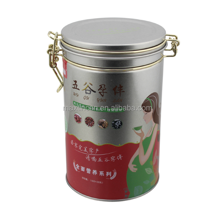 Round tea tin airtight tea tin box tea tin can with metal lock