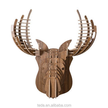 wood argali animal head wall art