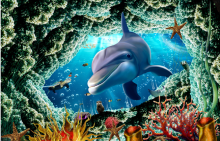 The bottom of the sea the dolphins wallpaper mural
