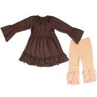 Wholesale baby ruffle capri sets beautiful girls cotton boutique sets fall children clothing sets