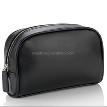 PU vanity bag case cosmetics bag black leather