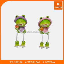 Polyresin frog cute animal shelf sitter