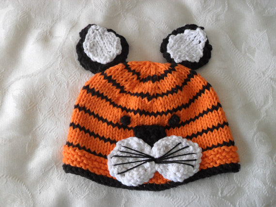 Crochet knitted tiger hat Baby winter knitted hat orange and black color stripes beanie hat