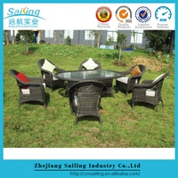 Classic Customized Black Lacquer Rattan Dining Room Furniture Sets