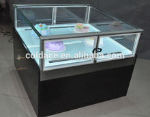 Foshan port glass top Candy display cabinet four side glass around fridge