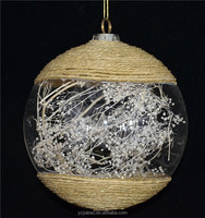 Import export agents wanted new christmas decorations, big size 12cm transparent glass ball with dried flower as house and decor