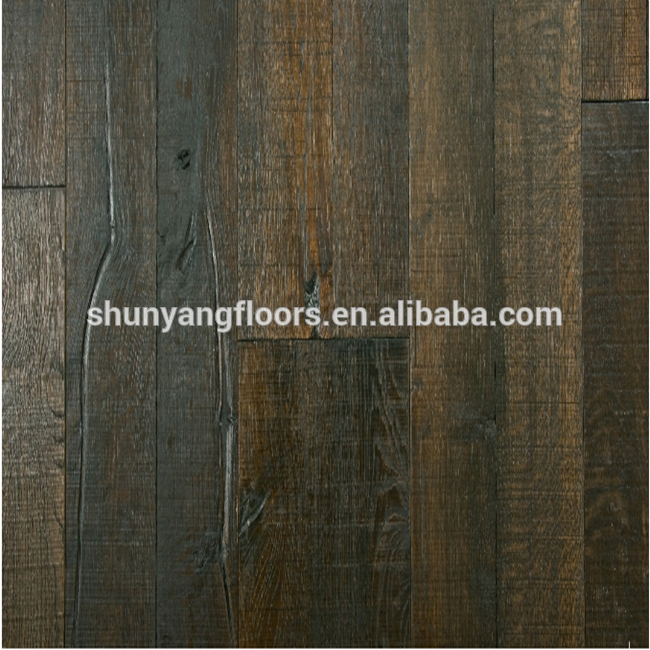 Black color Oak Engineered Distressed Wood Flooring //Oak Engineered Flooring and Brush 3 Ply Oak Flooring