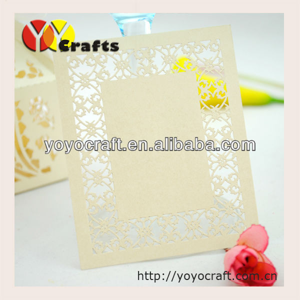 new design customized beautiful elegant paper laser cut wedding birthday party handmade thank you card samples wholesale TYC007
