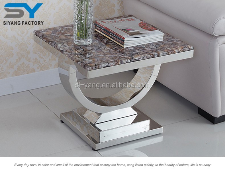 Conference room furniture stainless steel side table with marble top JJ038