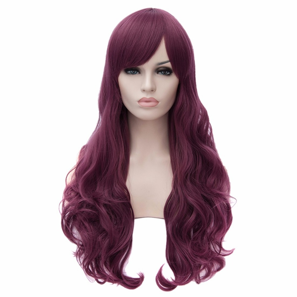 Purple Taro Cosplay Long Curly Women Full Haircut Fashion Party Lady Wigs