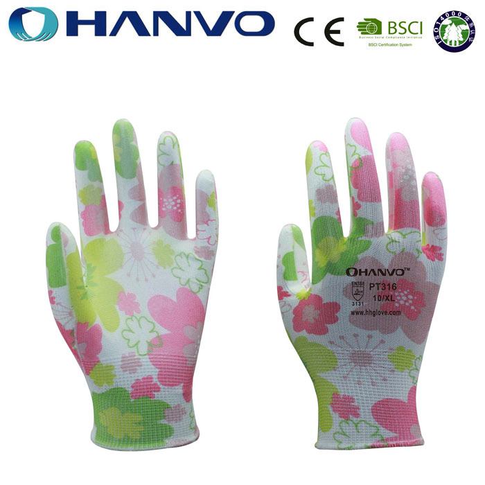 HANVO Women Gardening Gloves Beautiful Nylon Gloves Nitrile Coated Women
