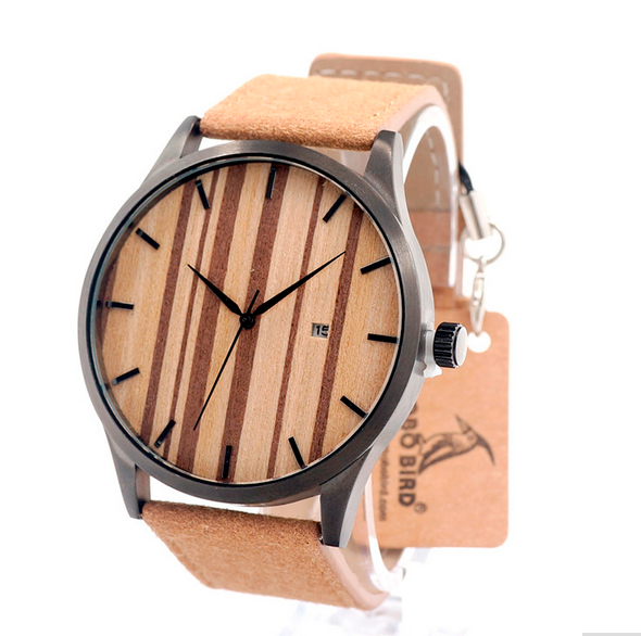wholesale 2017 custom logo bamboo wooden watch leather strap christmas leather wood watch cheap price