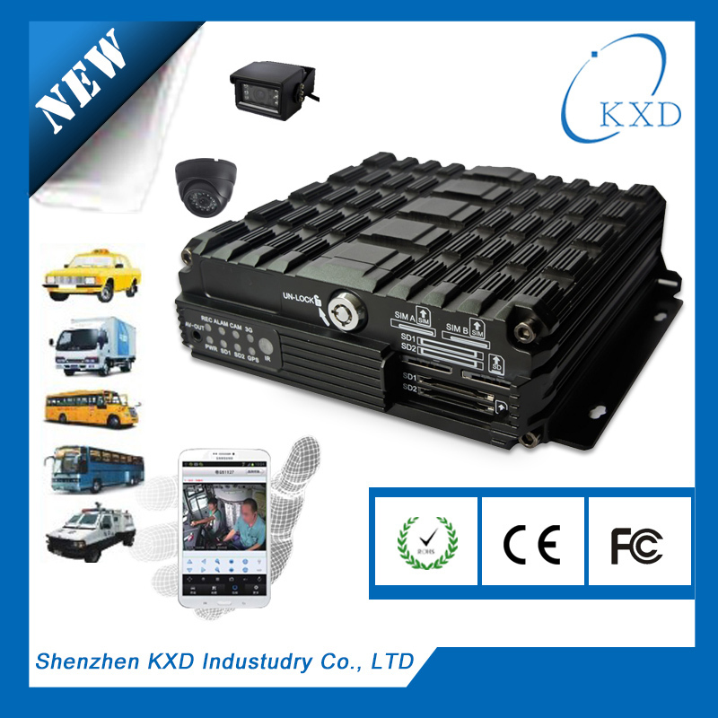 4 channel android phone remotely monitoring and PC live monitoring camera dvr with sim card for bus fleets administration