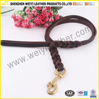 Heavy Strong Dark Brown Braided Leash Genuine Leather Pet Traction Rope
