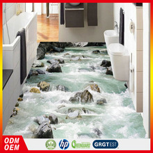 Stream river water stone bathroom 3D floor design removable floor sticker for toilet tile