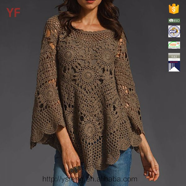 Various Pierced Pattern Crochet Knitted Woman Sweater