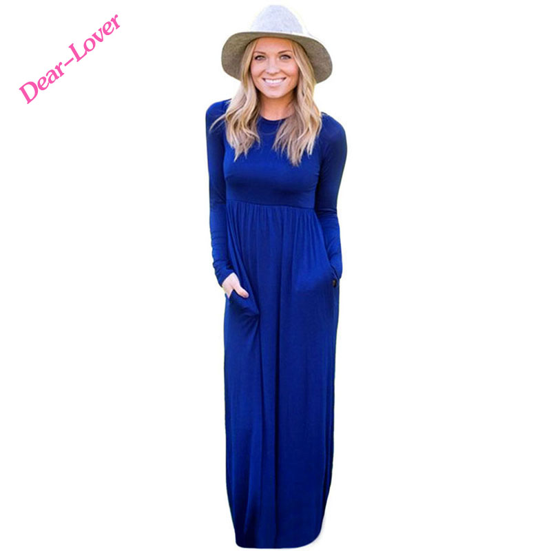 Wholesale Modern Long Sleeve High Waist Maxi Jersey Dress