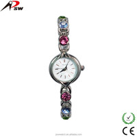 Different colours diamond bracelet advertising girls bling wrist watch