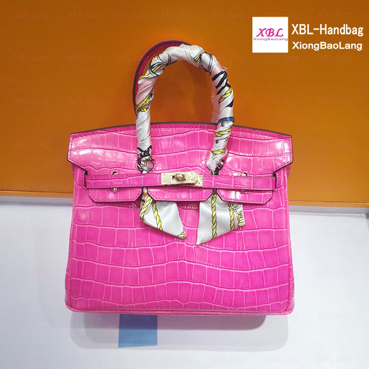 XBL Hot pink crocodile real leather hand bags women elegance handbags