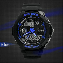 New 2014 Men Sports Watch Casual Dress watches 2 Time Zone Digital Quartz electronic LED