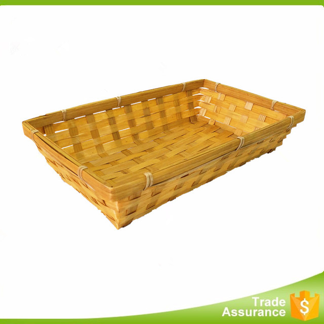 Factory rectangle cheap storage fruit/bread/vegetable bamboo tray/basket