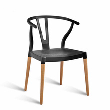 plastic chair seats and wood leg for outdoor dining chair