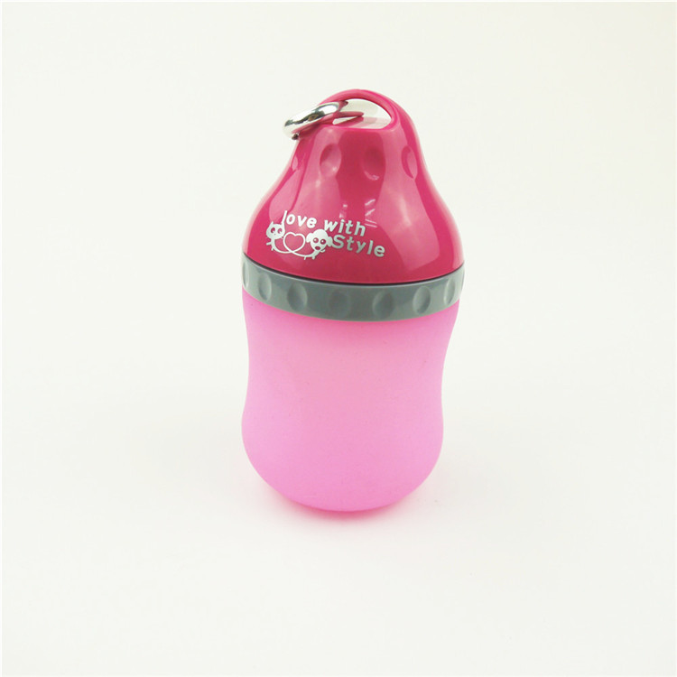 Lovely Plastic pet dog Portable drinking bottleTravel Bottle with carabiner