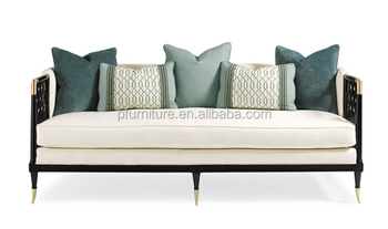 CD0807-4 luxery series metal legs wooden velvet fabric sectional sofa set