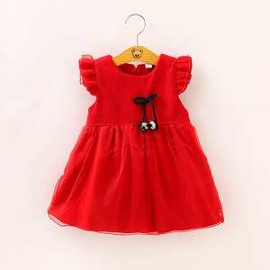 Haobaby,2019 Autumn and Winter New Children Wear Tweed Girl Dress Autumn and Winter Bow Lovely Princess Dress.