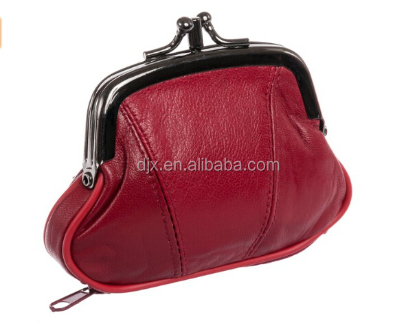 100% Genuine Leather Double-Pocket Change Purse with Clasp Womens Leather Triple Frame Coin Purse Credit Card Holder Wallet