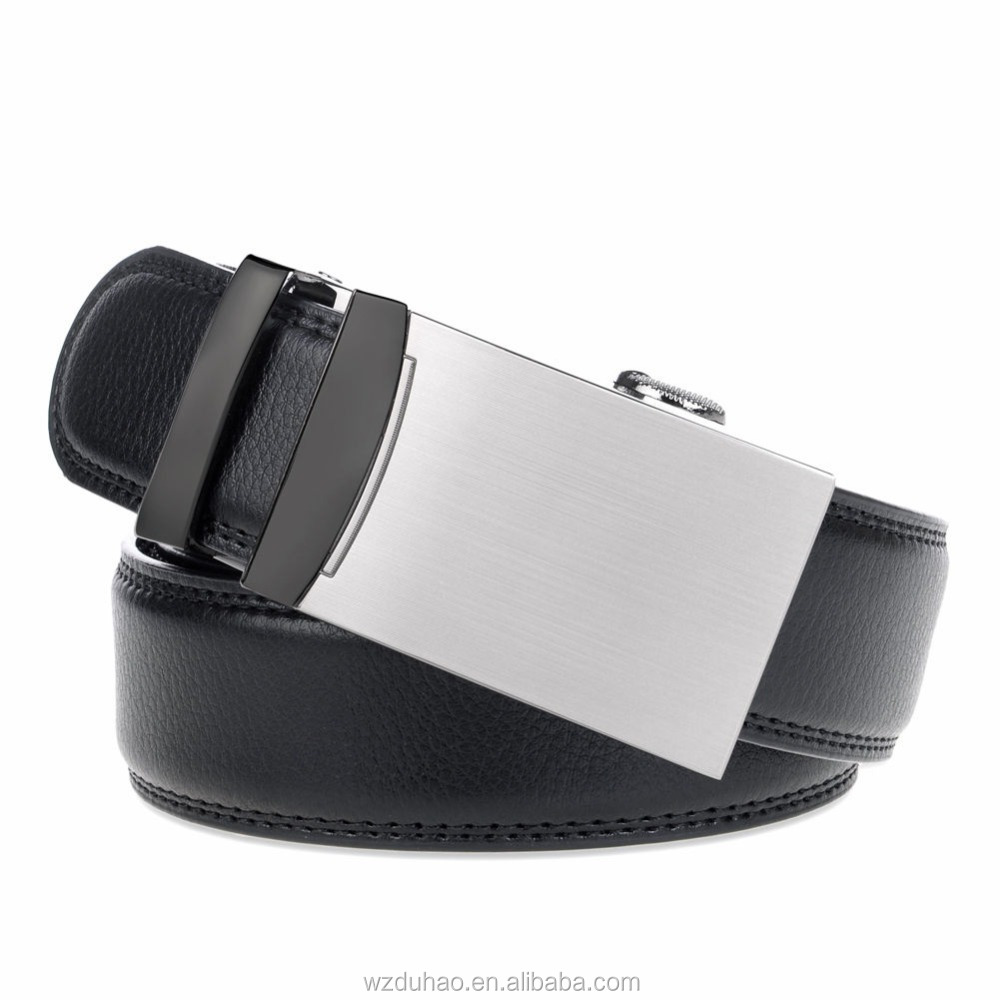 3.5cm Formal Auto Lock Buckle Belt Black Rachet Side Leather Belts For Men