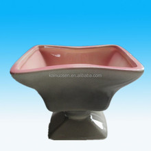 Vintage Royal Glazed Ceramic Footed Planter Grey And Pink Pottery Pedestal Design