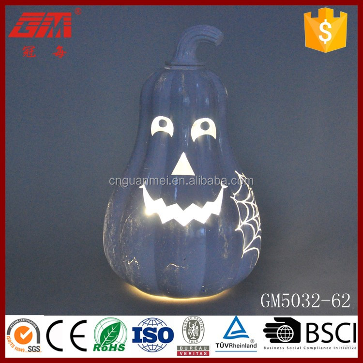 European style white lighted glass pumpkin crafts