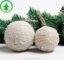 Bind Natural Rope Christmas Ball ornament, Foam Xmas Ball for Decoration