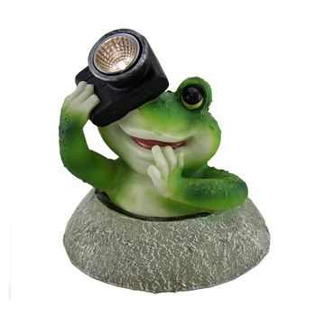 Say Cheese Frog Statue LED Solar Light with Camera