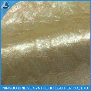 Garment Leather Gold and Embossed Turtle grain apparel pu synthetic leather fabric