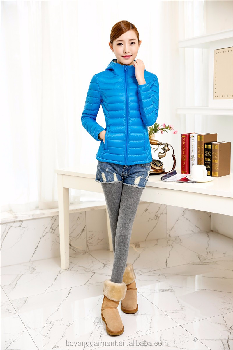 2015 hot sell blue customized women duck down clothing OEM