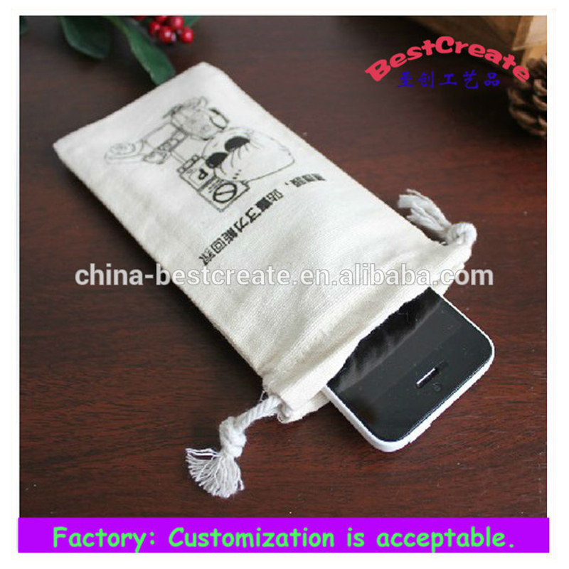 custom drawstring promotional cotton phone bag,white cotton phone bag with print logo
