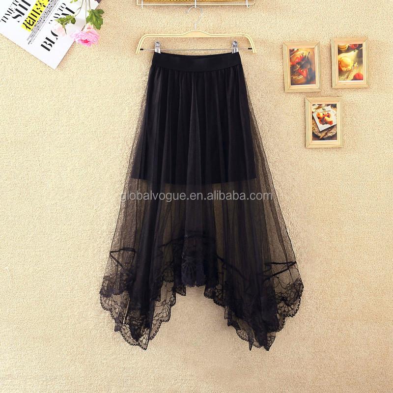 2016 new summer femmes sexy dentelle jupes femmes mode longue section jupe jupe tulle noir et. Black Bedroom Furniture Sets. Home Design Ideas