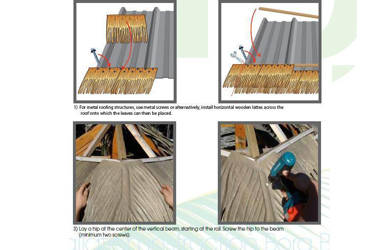 Low price made in china emulated palm leaf thatch