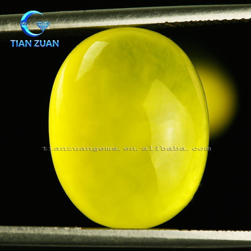 Oval natural prehnite Golden Yellow natual Grapestone precious Natural gemstone