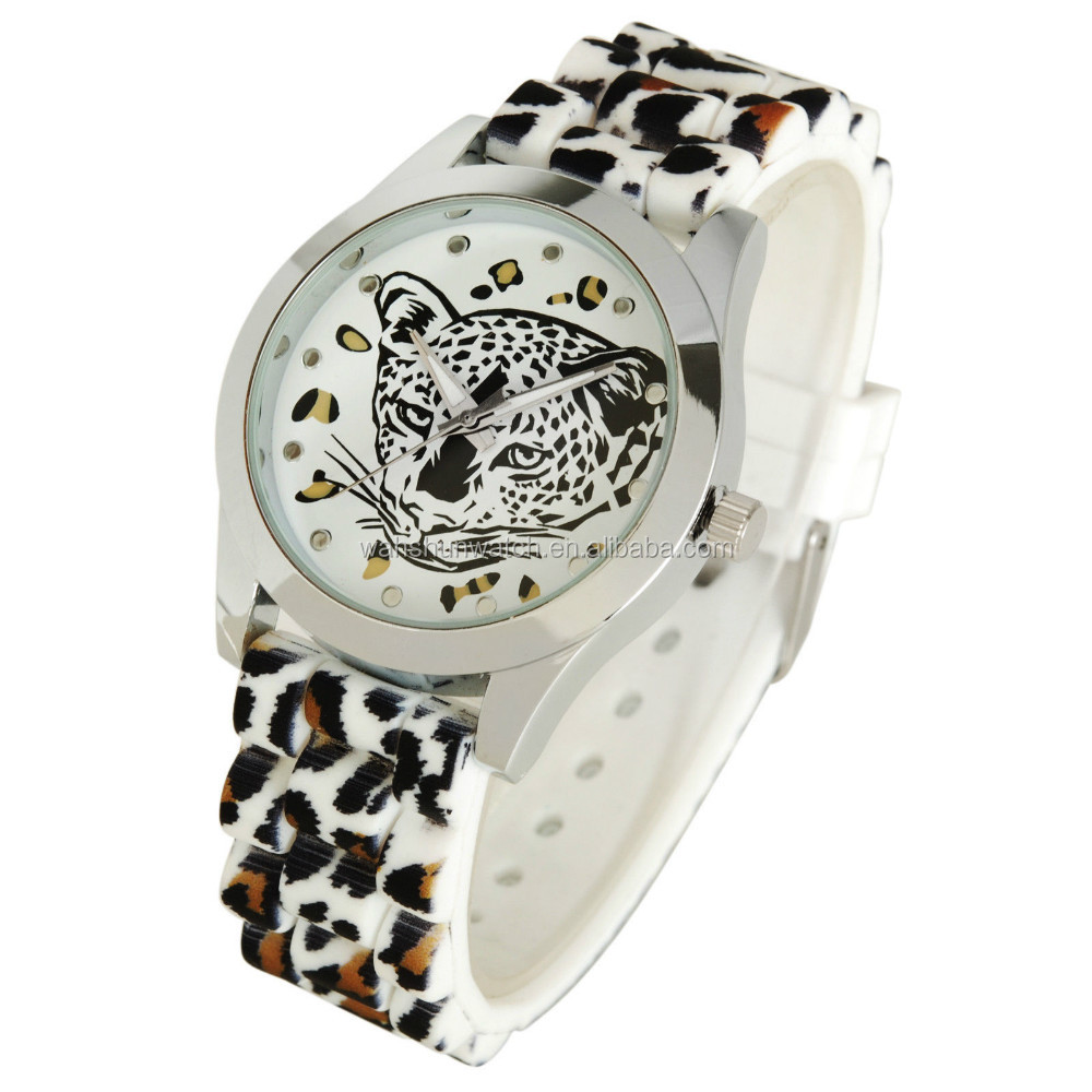 2015 new design animal fake leather strap lover branded watches for women