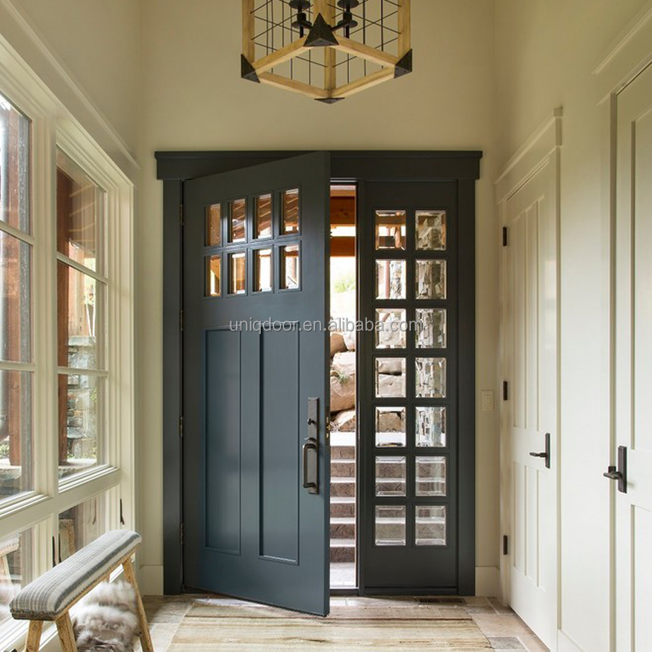 Solid <strong>wooden</strong> rustic doors with window sidelights