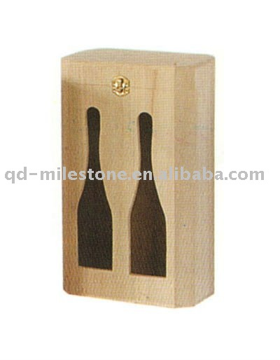 Double-bottle-shape Carved Wooden Wine Packaging Case